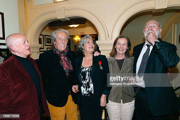Actor Gerard Lartigau Francoise Fabian Actor Jean Rochefort with his wife Francoise and Actor JeanPierre Marielle attend the delivery of the medal of...