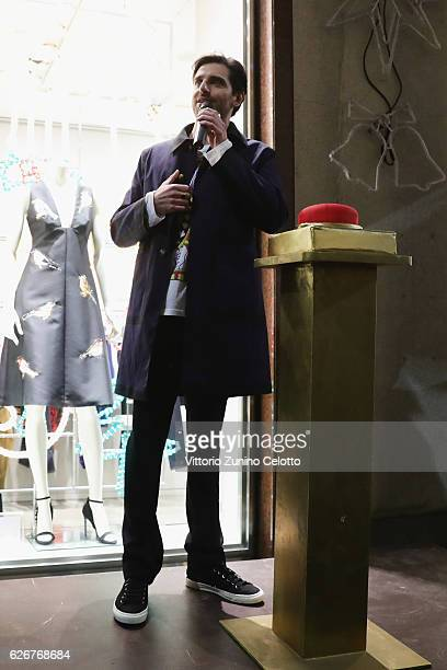 Actor Giampaolo Morelli speaks during the Stella McCartney Christmas lights party on November 30 2016 in Milan Italy