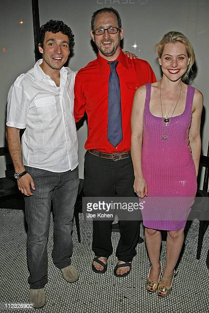 Actor Gian Murray Gianino Director Timothy Haskell and Actress Meital Dohan attend Stitching Opening Night Party on June 25 2008 in New York City
