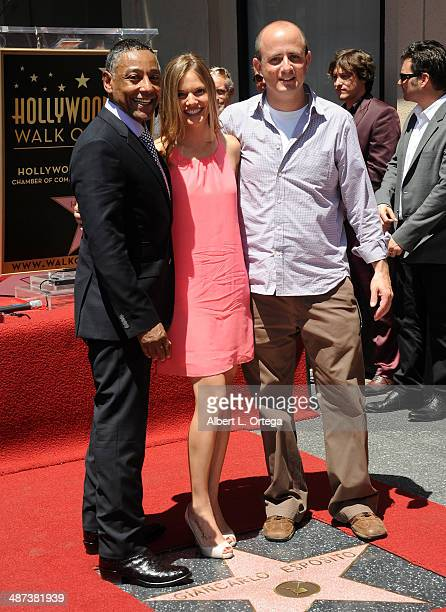 Actor Giancarlo Esposito actress Tracy Spiridakos and producer Eric Kripke attend the Giancarlo Esposito Star Ceremoney On The Hollywood Walk Of Fame...