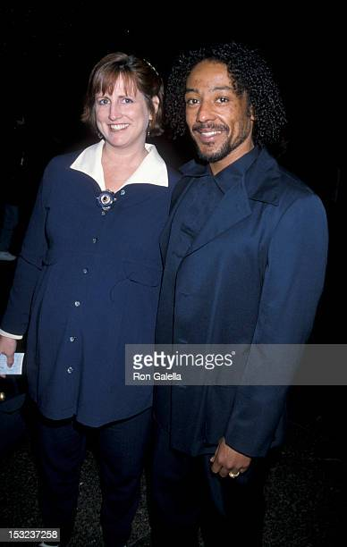 Actor Giancarlo Esposito and wife Joy McManigal attend the premiere of Shadrag on April 16 1998 at Director's Guild Theater in Hollywood California