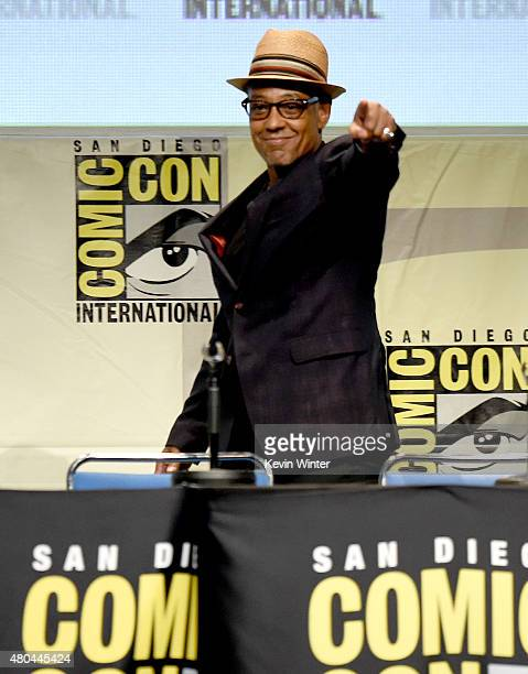 Actor Giancarlo Esposito from Maze Runner The Scorch Trials speaks onstage at the 20th Century FOX panel during ComicCon International 2015 at the...