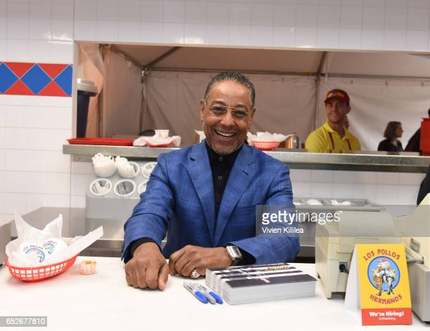 Actor Giancarlo Esposito signs autographs at AMC's Better Call Saul Los Pollos Hermanos PopUp shop with Bob Odenkirk and Giancarlo Esposito on March...
