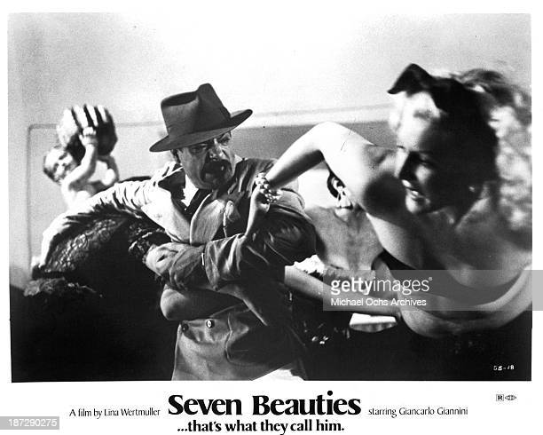 Actor Giancarlo Giannini on set of the movie Seven Beauties in 1975