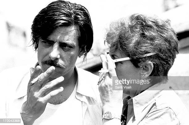 Actor Giancarlo Giannini with Lina Wertmuller on JUNE 11975 In Naples Italy
