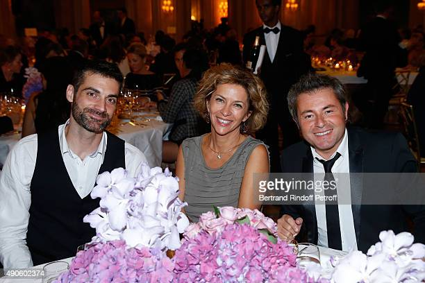 Actor Gil Alma, Actress Corinne Touzet and Journalist Jerome Anthony attend the Charity Dinner to Benefit 'Claude Pompidou Foundation', held at 'Four...