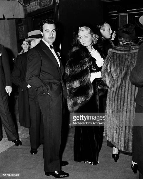 Actor Gilbert Roland and actress Constance Bennett attend an event in Los Angeles California