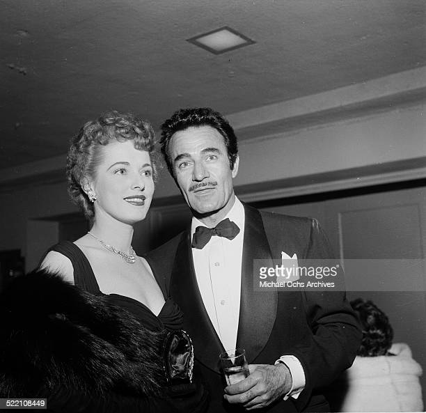 Actor Gilbert Roland with his wife Guillermina Cantu attends the International Press Club Awards in Los AngelesCA