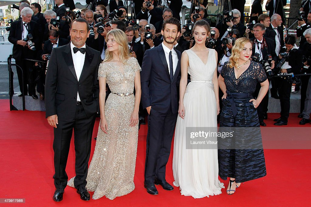 Actor Gilles Lellouche, actress Melanie Laurent, actor Pierre Niney, actress Charlotte Lebon and actress Marilou Berry attend the 'Inside Out' premiere during the 68th annual Cannes Film Festival on May 18, 2015 in Cannes, France.