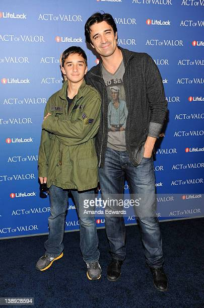 Actor Gilles Marini and his son Georges Marini arrive at the Act Of Valor Los Angeles Premiere at ArcLight Cinemas on February 13 2012 in Hollywood...