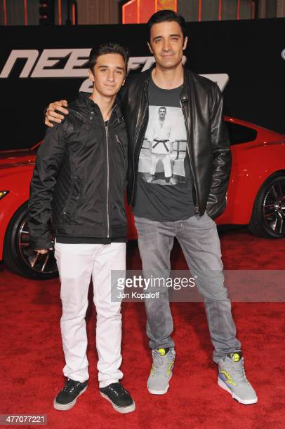Actor Gilles Marini and son Georges Marini arrive at the Los Angeles Premiere 'Need For Speed' at TCL Chinese Theatre on March 6 2014 in Hollywood...