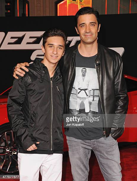 Actor Gilles Marini and son Georges Marini arrive at the Los Angeles Premiere Need For Speed at TCL Chinese Theatre on March 6 2014 in Hollywood...