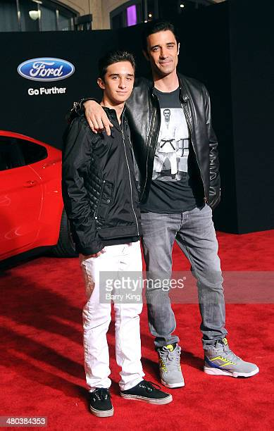 Actor Gilles Marini and son Georges Marini arrive at the Los Angeles Premiere 'Need For Speed' on March 6 2014 at TCL Chinese Theatre in Hollywood...