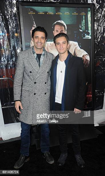 Actor Gilles Marini and son Georges Marini arrive for the Premiere Of Warner Bros Pictures' Live By Night at TCL Chinese Theatre on January 9 2017 in...
