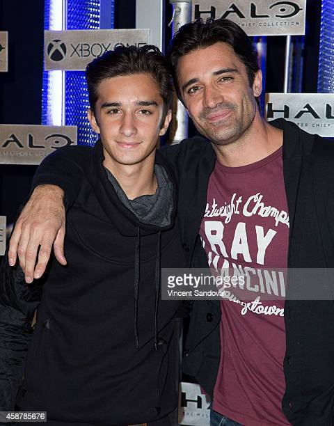 Actor Gilles Marini and son Georges Marini attend HaloFest Halo The Master Chief Collection launch at Avalon on November 10 2014 in Hollywood...