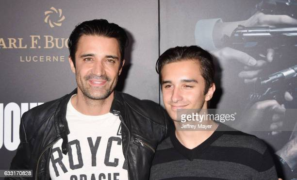Actor Gilles Marini and son Georges Marini attend the premiere of Summit Entertainment's 'John Wick Chapter Two' at ArcLight Cinemas on January 30...