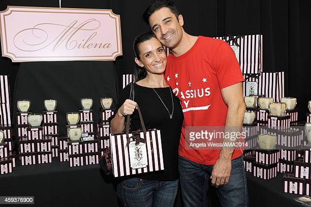 Actor Gilles Marini and wife Carole Marini attend the 2014 American Music Awards UPS Gifting Suite at Nokia Theatre LA Live on November 21 2014 in...