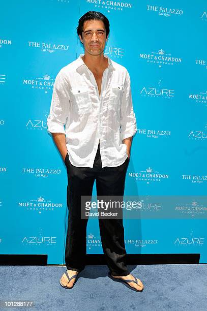 Actor Gilles Marini arrives to celebrate the kick off of the Memorial Day weekend and the launch of Moet Ice Imperial at the Azure pool at The...