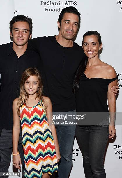 Actor Gilles Marini his wife Carole Marini and their children Georges Marini and Juliana Marini arrive at The Elizabeth Glaser Pediatric AIDS...