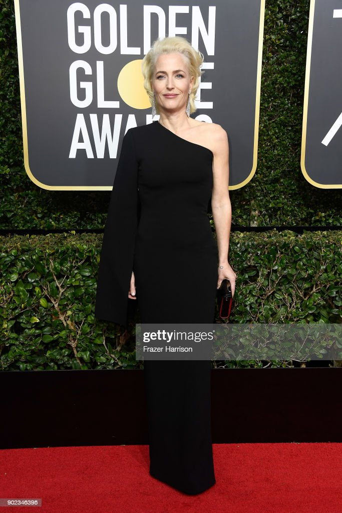 Actor Gillian Anderson attends The 75th Annual Golden Globe Awards at The Beverly Hilton Hotel on January 7, 2018 in Beverly Hills, California.