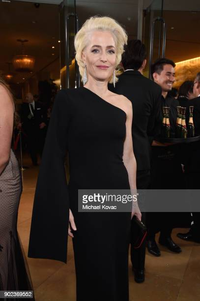 Actor Gillian Anderson celebrates The 75th Annual Golden Globe Awards with Moet Chandon at The Beverly Hilton Hotel on January 7 2018 in Beverly...