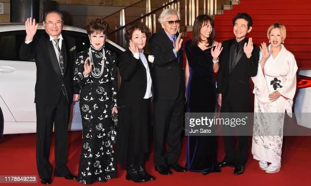 Actor Gin Maeda Ruriko Asaoka Cheko Baisho Director Yoji Yamada Kumiko Goto Hidetaka Yoshioka and Mari Natsuki arrive at the opening ceremony of...