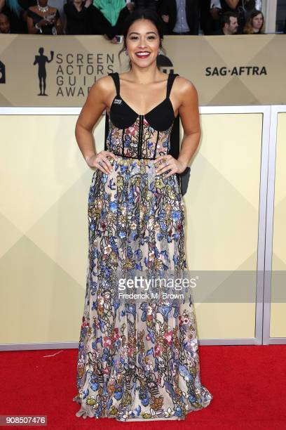Actor Gina Rodriguez attends the 24th Annual Screen Actors Guild Awards at The Shrine Auditorium on January 21 2018 in Los Angeles California...