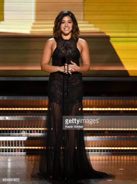 Actor Gina Rodriguez speaks onstage during The 59th GRAMMY Awards at STAPLES Center on February 12 2017 in Los Angeles California