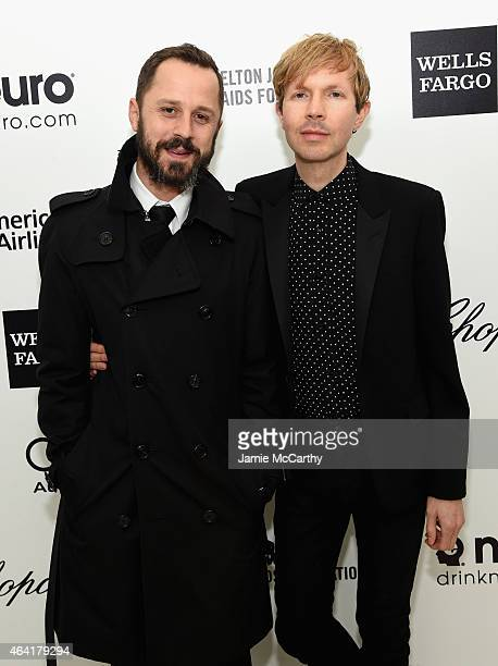 Actor Giovanni Ribisi and musician Beck attend the 23rd Annual Elton John AIDS Foundation Academy Awards Viewing Party on February 22, 2015 in Los...