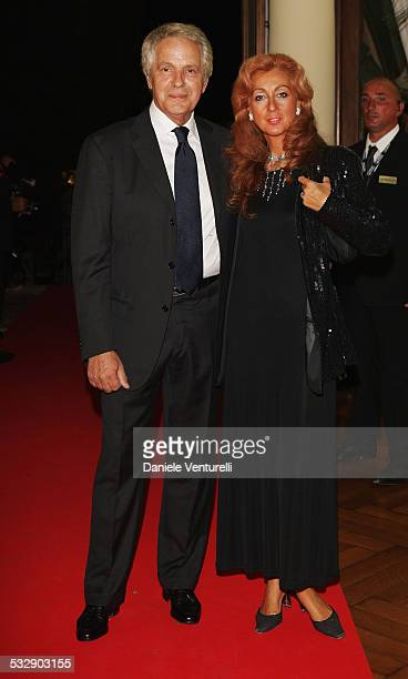 Actor Giuliano Gemma and his wife attend the Kineo Diamanti al Cinema Award Ceremony at the Hotel Des Bains during the 65th Venice Film Festival on...