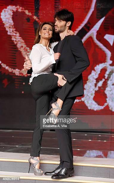 Actor Giulio Berruti and his dance partner Samanta Togni attend 'Ballando Con Le Stelle' press conference photocall at Auditorium Rai on October 2...