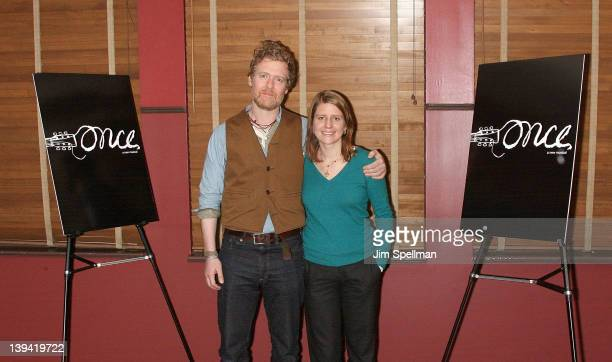 Actor Glen Hansard and Marketa Irglova attend the Once Broadway cast photocall at Sardi's on February 20 2012 in New York City