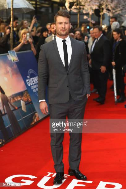 Actor Glen Powell attends 'The Guernsey Literary And Potato Peel Pie Society' World Premiere at The Curzon Mayfair on April 9 2018 in London England