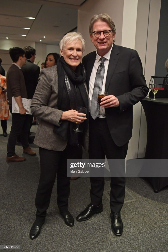 Actor Glenn Close (L) and Academy Museum Director Kerry Brougher attend the Academy Museum Conversation at The Times Center, featuring Whoopi Goldberg, Kerry Brougher and Renzo Piano on April 16, 2018 in New York City.