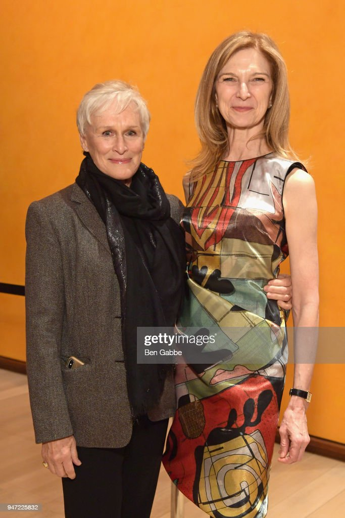 Actor Glenn Close (L) and CEO of the Academy of Motion Picture Arts and Sciences Dawn Hudson attends the Academy Museum Conversation at The Times Center, featuring Whoopi Goldberg, Kerry Brougher and Renzo Piano, on April 16, 2018 in New York City.