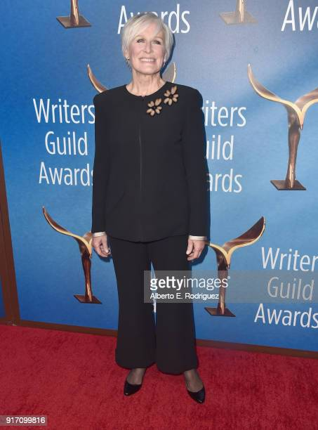 Actor Glenn Close attends the 2018 Writers Guild Awards LA Ceremony at The Beverly Hilton Hotel on February 11 2018 in Beverly Hills California