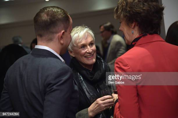 Actor Glenn Close attends the Academy Museum Conversation at The Times Center featuring Whoopi Goldberg Kerry Brougher and Renzo Piano on April 16...