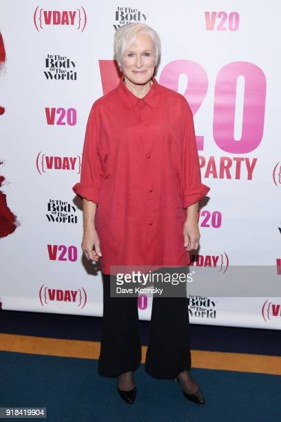 Actor Glenn Close attends V20 The Red Party a 20th anniversary celebration of VDay and The Vagina Monologues featuring a performance by Eve Ensler of...