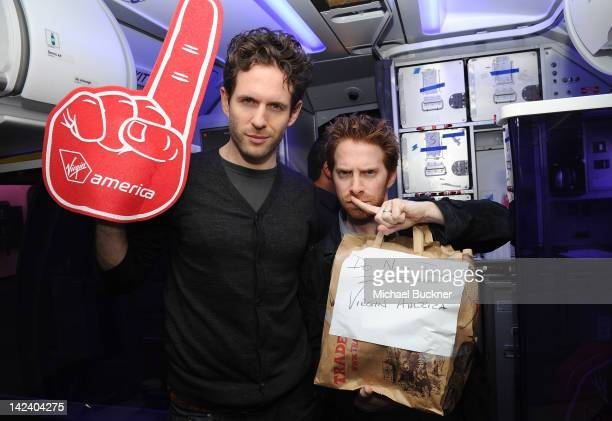 Actor Glenn Howerton and actor Seth Green board the plane for the Launch of Virgin America's First Flight from Los Angeles to Philadelphia Los...