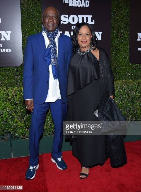 US actor Glynn Turman and his wife JoAnn Allen arrive to attend The Broad's West Coast Debut of Soul of a Nation Art In The Age of Black Power...