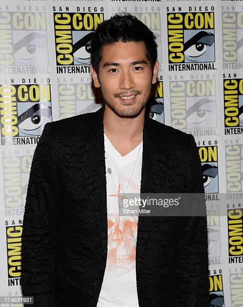 Actor Godfrey Gao attends The Mortal Instruments City of Bones press line during ComicCon International 2013 at the Hilton San Diego Bayfront Hotel...