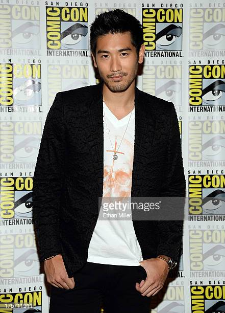 Actor Godfrey Gao attends The Mortal Instruments City of Bones press line at the Hilton San Diego Bayfront Hotel on July 19 2013 in San Diego...