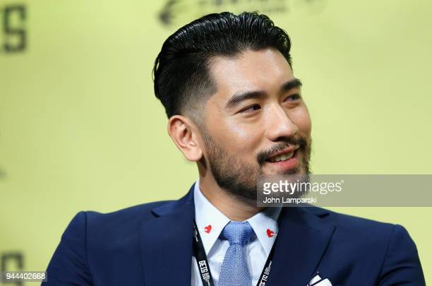 Actor Godfrey Gao speaks during the Global Entertainment Industry Summit at the Manhattan Center on April 10 2018 in New York City