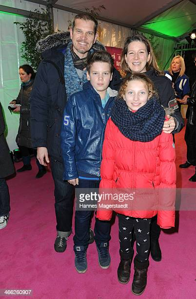 Actor Goetz Otto and his wife Sabine with their children Lino and Luna attend 'Cirque Du Soleil' Kooza 2014 Munich Premiere at Theresienwiese on...