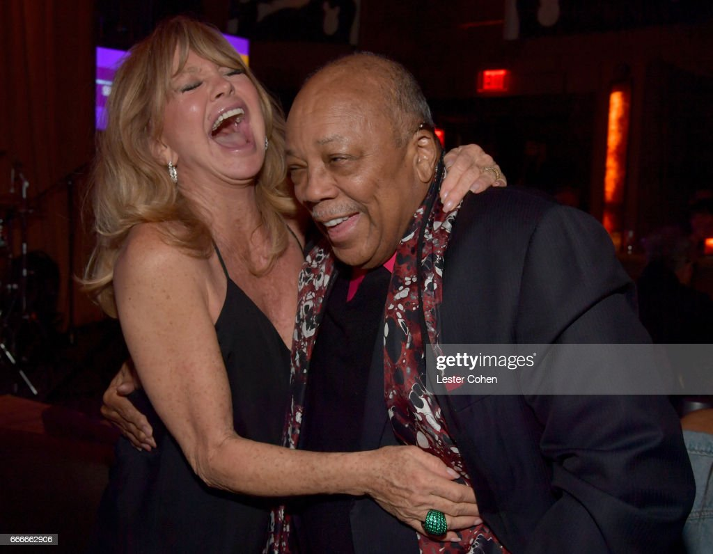 Actor Goldie Hawn and record producer Quincy Jones attend an evening with Quincy Jones and The Jazz Foundation of America at Vibrato on April 9, 2017 in Los Angeles, California.