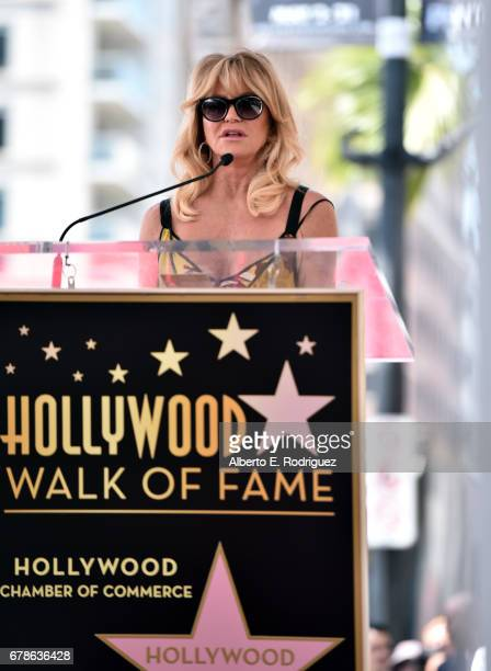 Actor Goldie Hawn speaks onstage as she and Kurt Russell are honored with a double star ceremony on the Hollywood Walk of Fame on May 4 2017 in...