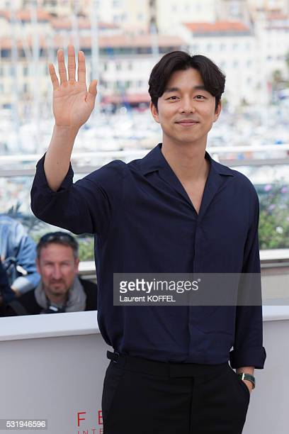 Actor Gong Yoo attends the 'Train To Busan ' Photocall at the annual 69th Cannes Film Festival at the Palais des Festivals on May 14 2016 in Cannes...