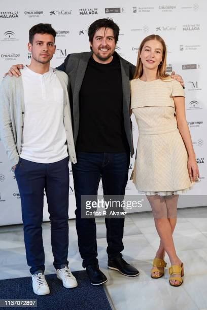 Actor Gonzalo Fernandez director Roberto Bueso and actress Charlotte Vega attend 'La Banda' photocall during the 22th Malaga Film Festival on March...