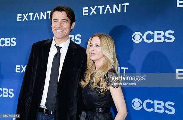 Actor Goran Visnjic and Ivana Vrdoljak attend the Los Angeles premiere of Extant at Samuel Oschin Space Shuttle Endeavour Display Pavilion on June 16...