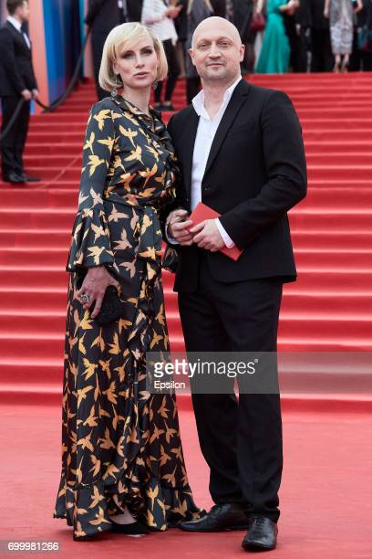 Actor Gosha Kutsenko with wife attend opening of the 39th Moscow International Film Festival outside the Karo 11 Oktyabr Cinema on June 22 2017 in...